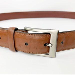 Perry Ellis Brown Leather Belt Silvertone Buckle